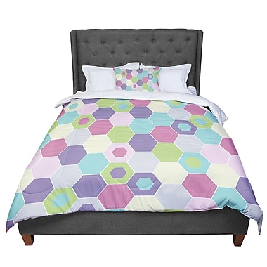 East Urban Home Nicole Ketchum Pale Bee Hex Comforter; Queen