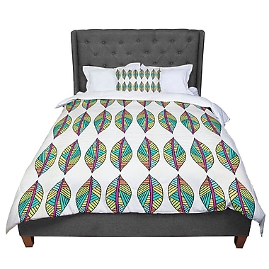 East Urban Home Pom Graphic Design Tribal Leaves Comforter; Queen