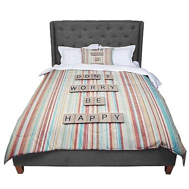 East Urban Home Nastasia Cook Don't Worry Be Happy Typography Comforter; Queen