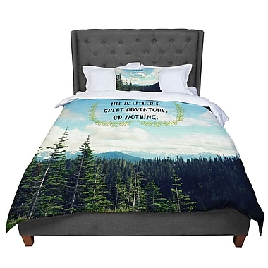 East Urban Home Robin Dickinson Life Is Landscape Typography Comforter; Queen