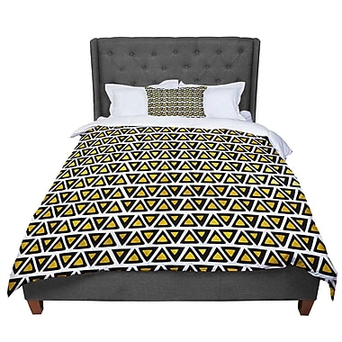 East Urban Home Pom Graphic Design Aztec Triangles Comforter; Queen