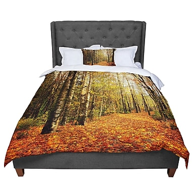 East Urban Home Sylvia Cook Autumn Leaves Rustic Comforter; Twin