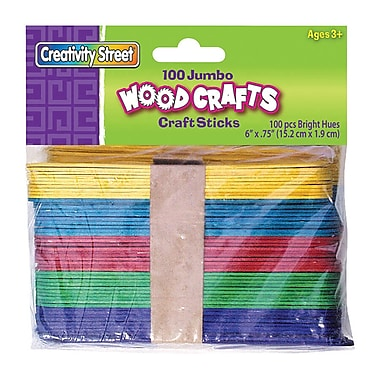 Chenille Craft Bright Hues Jumbo Craft Sticks, 600/Pack (CK-367602)
