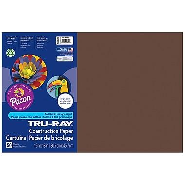 Pacon Tru-ray Sulphite Construction Paper, Dark Brown, 12