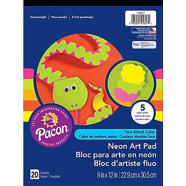 Pacon Art Street Neon Construction Paper Pad, Assorted, 9