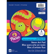 "Pacon Art Street Neon Construction Paper Pad, Assorted, 9"" X 12"", 20 Sheets, 80/Pack (PAC104627)"