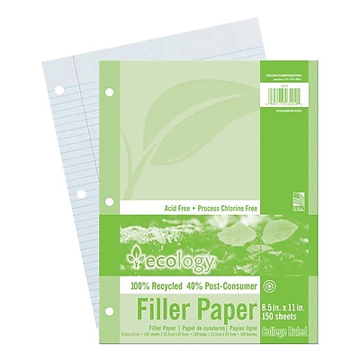 Pacon® College Ruled Ecology Filler Paper, 11