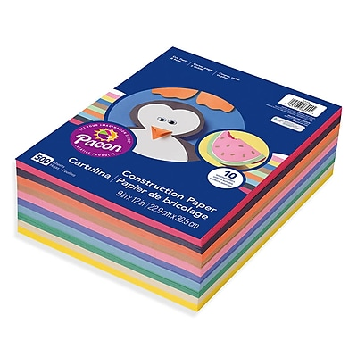 Roselle Vibrant Construction Paper, Assorted, 12