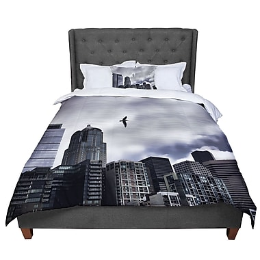 East Urban Home Sylvia Cook Seattle Skyline City Clouds Comforter; King