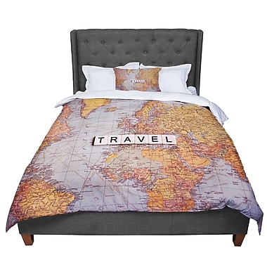 East Urban Home Sylvia Cook Travel Map World Comforter; King