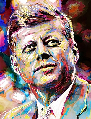East Urban Home 'John Fitzgerald Kennedy' by Pat Spark Graphic Art Print on Wrapped Canvas