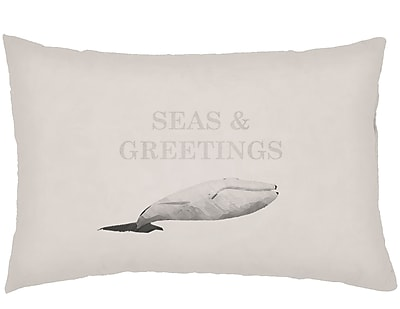 Highland Dunes Chiaramonte Indoor/Outdoor Humpback Whale Lumbar Pillow; Neutral