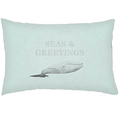 Highland Dunes Chiaramonte Indoor/Outdoor Humpback Whale Lumbar Pillow; Green