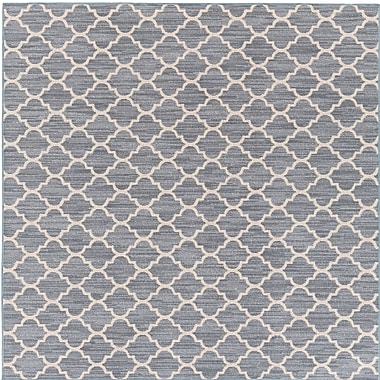 Highland Dunes Chesterville Gray/Beige Indoor/Outdoor Area Rug; Square 6'