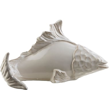 Highland Dunes Coastal Fish Ceramic Figurine; Ivory