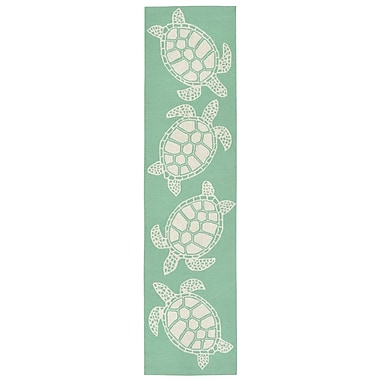 Highland Dunes Claycomb Hand-Tufted Green Indoor/Outdoor Area Rug; Runner 2' x 8'