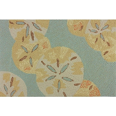 Highland Dunes Coeymans Sand Dollars by the Sea Blue/Gold Indoor/Outdoor Area Rug; 3' x 5'