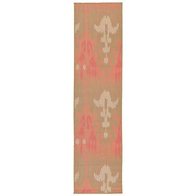 Highland Dunes Coeur Ikat Pink/Green Indoor/Outdoor Area Rug; Runner 1'11'' x 7'6''