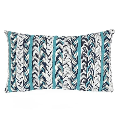 Highland Dunes Coalton Braided Stripe Indoor/Outdoor Lumbar Pillow; Blue