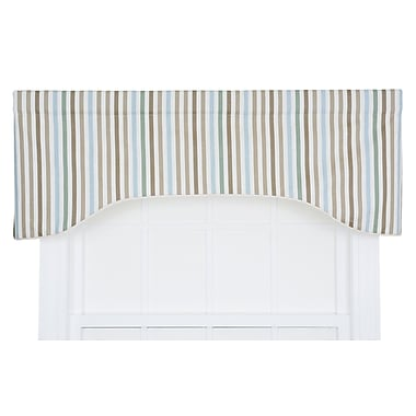 Highland Dunes Zara Stripe Print Lined Arched Curtain Valance