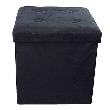 Rebrilliant Foldable Cube Storage Ottoman; Black