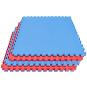 Sorbus Sivan Reversible Interlocking Puzzle Tiles Floor Mat; Red/Blue