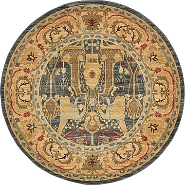 World Menagerie Lerma Gray/Brown Area Rug; Round 8'