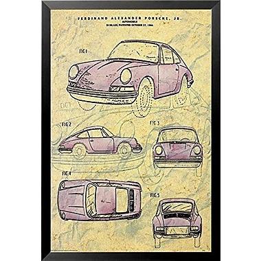 'Porsche Automobile 1964 Patent' Framed Graphic Art Print Vintage Advertisement Poster