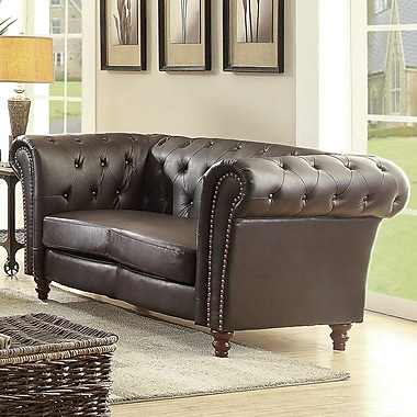 Willa Arlo Interiors Renhold Chesterfield Rolled Arms Loveseat; Dark Brown