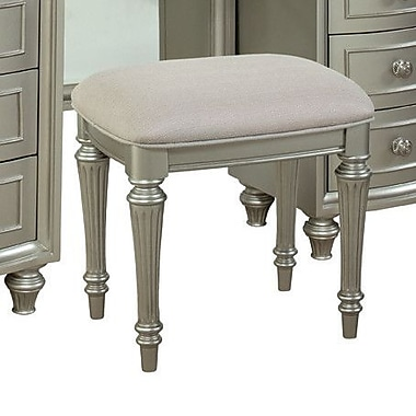 Willa Arlo Interiors Redick Vanity Bench; Pearlized Silver