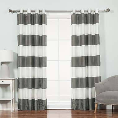 Willa Arlo Interiors Camden Striped Blackout Thermal Tap Top Curtain Panel (Set of 2); Dark Gray