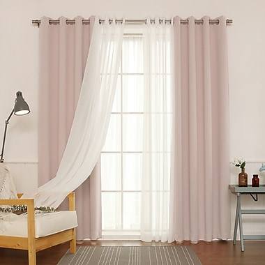 Willa Arlo Interiors Brunilda Traditional Solid Sheer Thermal Grommet Curtain Panels (Set of 2)