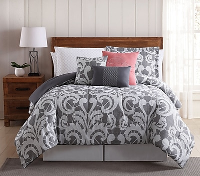 Willa Arlo Interiors Campbell Lace Scroll 12 Piece Comforter Set; King
