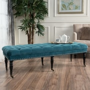 Willa Arlo Interiors Cline Velvet Upholstered Bedroom Bench w/ Caster; Dark Teal