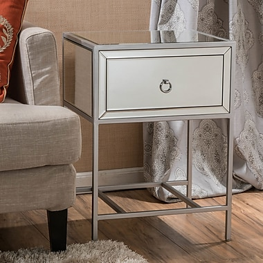 Willa Arlo Interiors Crosby 1 Drawer End Table; Silver