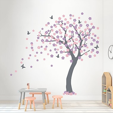 Wallums Wall Decor Cherry Blossom Tree Wall Decal; Storm Gray/Carnation Pink/Lilac