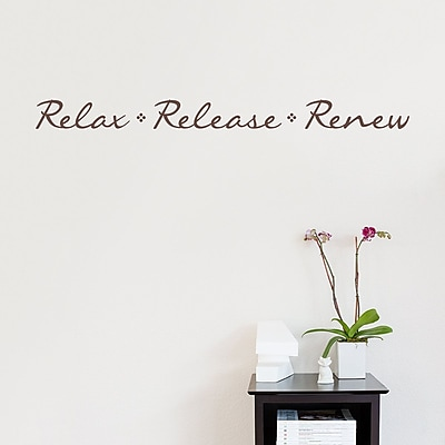 Wallums Wall Decor Relax Release Renew Wall Decal Quote; Chocolate Brown