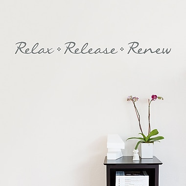 Wallums Wall Decor Relax Release Renew Wall Decal Quote; Gray