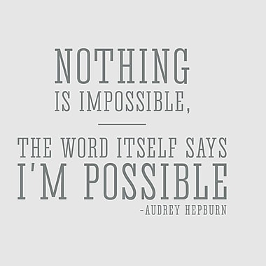 Wallums Wall Decor Nothing is Impossible Audrey Hepburn Quote Wall Decal; Gray