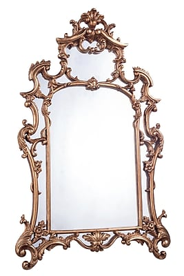 Astoria Grand Arch/Crowned top Wood Framed Mirror; Gold