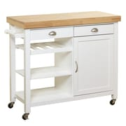 Breakwater Bay Nathaly Kitchen Cart w/ Wood Top; White/Natural