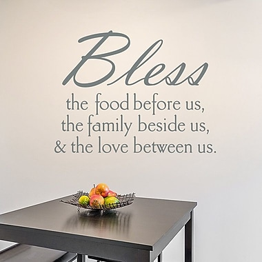 Wallums Wall Decor Bless The Food Wall Decal; Gray