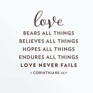 Wallums Wall Decor Love Never Fails Corinthians 13:7 Wall Decal; Chocolate Brown
