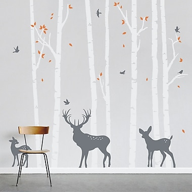 Wallums Wall Decor Birch Tree Forest w/ Deer Wall Decal; White/Storm Gray/Persimmon