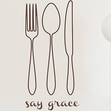 Wallums Wall Decor Say Grace Wall Decal; Chocolate Brown