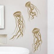 Wallums Wall Decor Jelly Fish Wall Decal; Gold Metallic