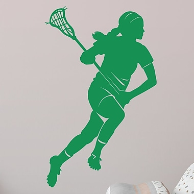 Wallums Wall Decor Female Lacrosse Player Silhouette Wall Decal; Green