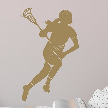 Wallums Wall Decor Female Lacrosse Player Silhouette Wall Decal; Gold Metallic
