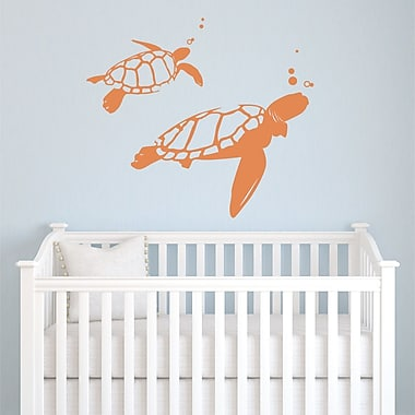 Wallums Wall Decor Swimming Turtles Wall Decal; Persimmon