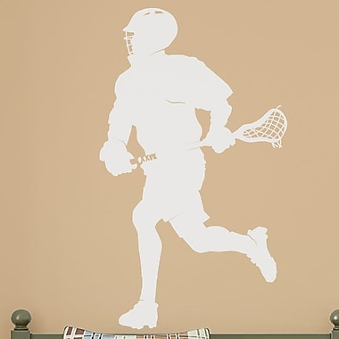 Wallums Wall Decor Male Lacrosse Player Silhouette Wall Decal; White